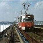 Трамвай на Северном мосту в Воронеже